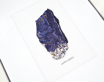 Lapis Lazuli Mineral Specimen Archival Print on Watercolor Paper