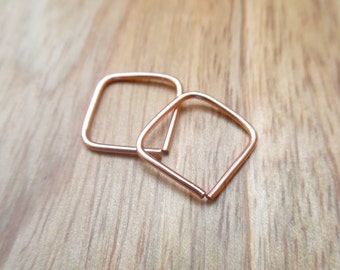 Pair of Hoops, 14K Rose Gold Filled Mini Square Hoop Earrings, Square Cartilage Earrings, Helix Piercing, Pink Gold Hoops, Ear Huggers