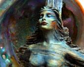 5 x 8 Print - Art Card, Spirit Woman - Talking Stick, Driftwood Sculpture by Debra Bernier