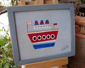 vintage,toy boat painted on wood in shabby blue painted wooden frame-signed,ready to hang