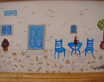 vintage,handpainted,framed Greek island house,watercolor/acrylic on wood-bistro tables Greek blue