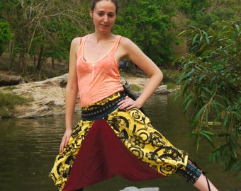 Funky Thai Capri Pants, Batik Cotton, Hmong Hill Tribe Style, Black, Red and Yellow Paisley Print w Green Details - One Size Fits All