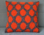 Pillow, Cushion, Circles, Orange, Polka Dots, Spots, Knitted Pillow, UK Seller, Grey, Tangerine,