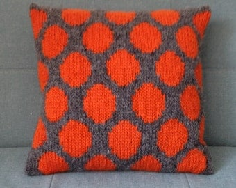 Pillow, Cushion, Teenager's Rooms, Knitted Pillow, UK Seller, Grey, Orange