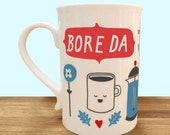 Welsh Language Mugs. NEW... with Hand Stamped Boxes.Tea or Coffee Bore da
