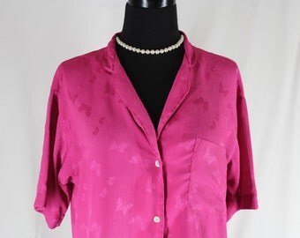 Vintage Blouse Butterfly Pink Fuschia Copperfield NOS