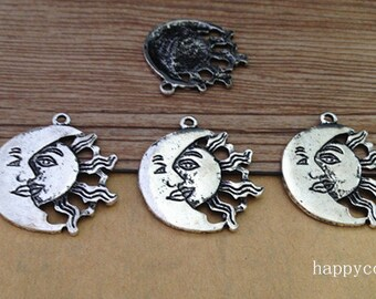 12pcs of Antique silver sun With moon pendant charm 27mm