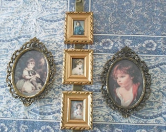 3 Pc Italian Tole Picture Set Home Decor Filagree Metal Framed Pictures
