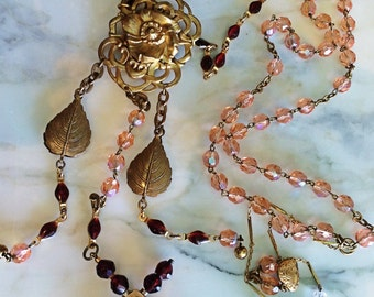 Victorian Garnet bead cross 1890s assemblage this can be worn long flapper back necklace