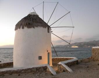 Sunset photo print, Greece summer home decor, Mykonos windmill sunset photo print