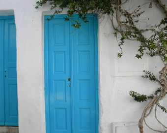 Travel photo print, blue home decoration, wall decor, blue door Mykonos Greece, summer blue white home photo decor