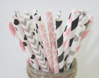 Gray Pink Black Paper Party Drinking Straws ~ Wedding ~ Baby Shower ~ Set of 24 or 48