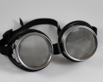 Cyperpunk, Silver Steampunk goggles, metal goth, mesh, dieselpunk goggles, Kylie Jenner, teen vogue, Mad Max, waspeye lens 100% seethrough