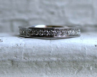 Vintage 14K White Gold Pave Diamond Eternity Wedding Band - 0.70ct.