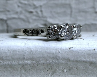 Vintage Three Stone Diamond Engagement Ring in 14K White Gold - 1.23ct.