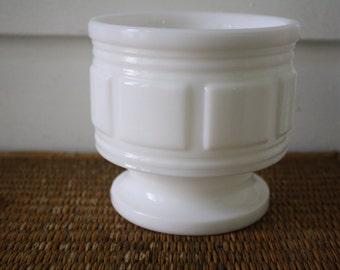 Vintage white pedestal planter, milk glass