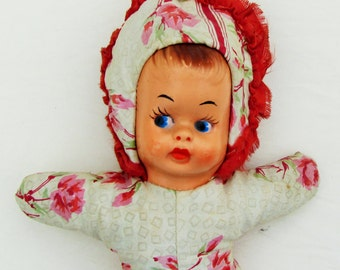 Vintage doll with celluloid face and stuffed body, 1940's collectible doll