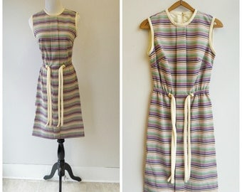 60s striped day dress size small . xs
