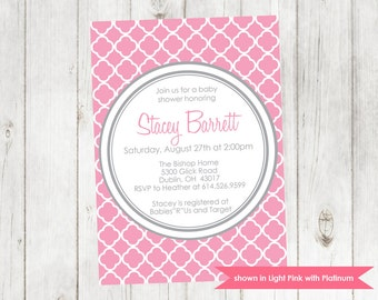 Baby Shower Invitation - Printable Quatrefoil Shower Invitation - Colors Customizable