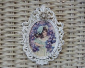 Small Shabby Frame - White Oval Frame - Violets Picture - Ornate Vintage Frame - Victorian Picture - White Metal Frame