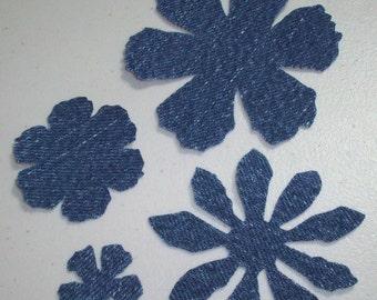 Upcycled Denim - Repurposed Jeans - 100 Die Cut Denim Flowers