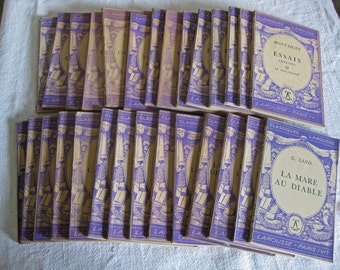 French purple books Classiques Larousse decorative softback books
