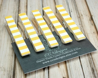 Yellow Stripe Clothespin Magnets - Yellow Magnet Set - Fridge Magnets - Set of 5