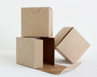 50 Brown Kraft Favor Boxes 2X2X2 inch - Wedding, Bridal Shower, Birthday, Baby Shower, Baptism, Party Decoration