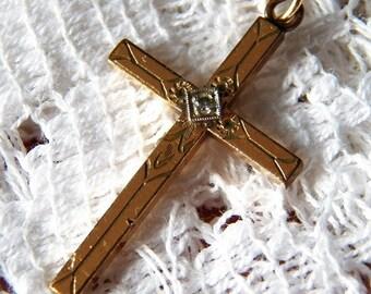 Signed Sturdy 12k Gold Filled Diamond Chip Cross