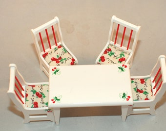 RED CHERRIES Kitchen Table & 4 Chairs Dollhouse Miniature Hand-Painted Furniture 1:12 Scale