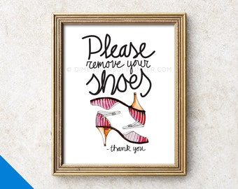 Please remove your shoes - thank you, Art print, Please remove shoes sign, Please take shoes off, Please take off your shoes, Hand drawn.