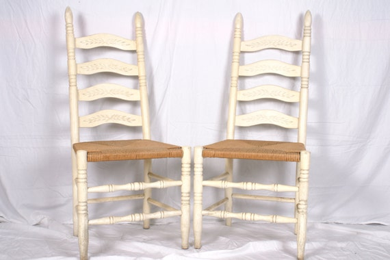 white ladder back chairs rush seats 3