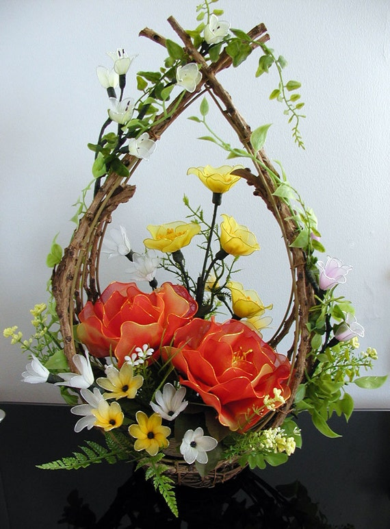 Handmade Nylon Basket : Handmade nylon flower arrangement by liyunflora on etsy