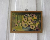 Vintage picture wall hanging with books and Anemones