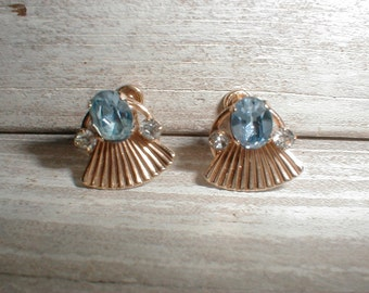 Van Dell 1/20 12K Gold Filled Screwback Earrings *Art Deco* Sparkly Aqua & Clear Rhinestones