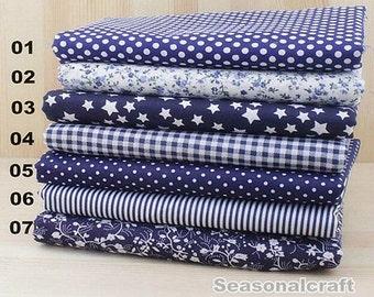 """Navy Blue Bundle Deep Blue Cotton Fabric Bundle- Blue Fabric Fat Quarter Bundle, 7 Fat Quarters Pieces each 19""""X19"""" (QT515-M)"""