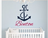 Personalized Anchor Decal Nautical Anchor with Rope Wall Decal Boys Girls Nautical Nursery Decal Bedroom Decal Beach Sea Anchor Rope Decal