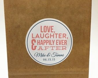 Love and Laughter Hotel Bag Sticker | Wedding Welcome Label | Printed by Darby Cards