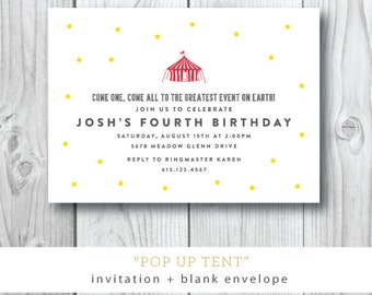 Pop Up Tent Birthday Party Invitation | Circus or Carnival Kids Party Invitation | Printed or Printable by Darby Cards