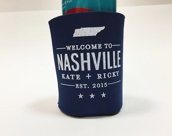 Set of 50 Custom Welcome to Nashville | City and State Wedding Koozie | Printed by Darby Cards