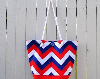 Nautical Chevron Bag - Red, Blue, White - Beach Bag