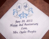 Special Listing for Michelle G. only  --  CHAMPAGNE Glasses - Wine glasses --  2nd Anniversary Hankie ---Wedding Hankie --9 words --  design