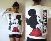 Vtg Mickey Mouse Double Sided White Sweatshirt