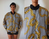 Vtg Silk Houndstooth Gold Chain Print Zip Up Jacket