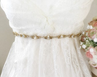 Wedding Bridal Gold Crystal Sash - Crystal Bridal belt