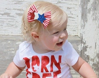 Star Spangled Bow, Glittery star headband, red white and blue, 4th of july bow, memorial day, patriotic, stripes, Tuxedo Bow, baby headband,
