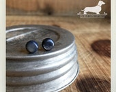 Blue Gray. Mini Post Earrings -- (Vintage-Style, Round, Circle, Minimalist, Simple, Boho Chic, Super Small Studs, Birthday Gift Under 10)