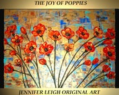 Sale! Original Large Abstract Painting Modern Contemporary Canvas Art Gold Turquoise Orange JOY of POPPIES 36x24 Textured Oil J.LEIGH