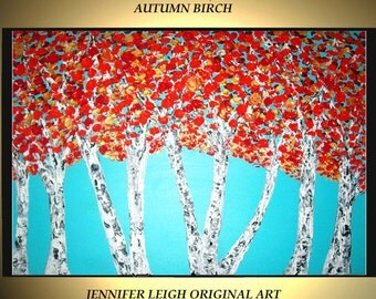 Sale - Large Abstract Painting Original Acrylic Painting Modern Oil Painting Blue White Red Orange Birch Trees  36x24 Textured  J.Leigh