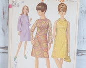 Vintage Simplicity sewing pattern 6783, 1966, 60's cocktail or day dress knee length, A-line style high neckline round